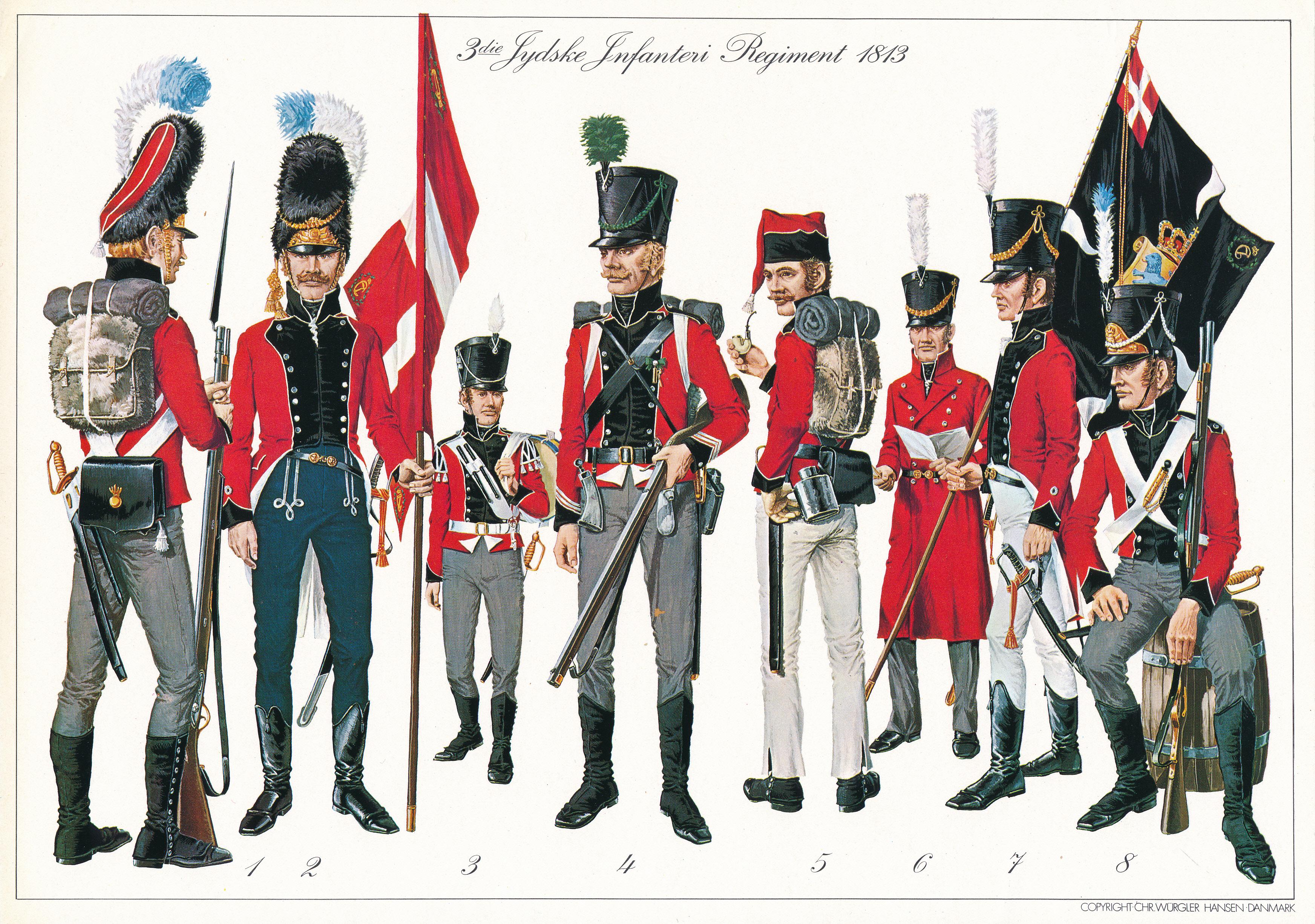 3die jydske infanterie regiment 1813, tegnet af chr. wür