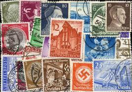 Motiverne på nazisternes frimærker var ofte portrætter af Det Tredje Riges stærke mænd, men også bygningsværker portrætteredes. Illustration: Arpin Philately