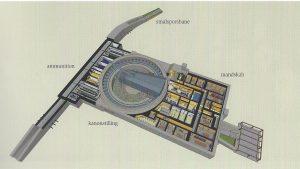 Foruden fotografier indeholder bogen flere kort og 3-D tegninger. Her en perspektivtegning af en bunker med 38 cm-kanon. Tegning: Wim van der Velden. Ill. fra bogen